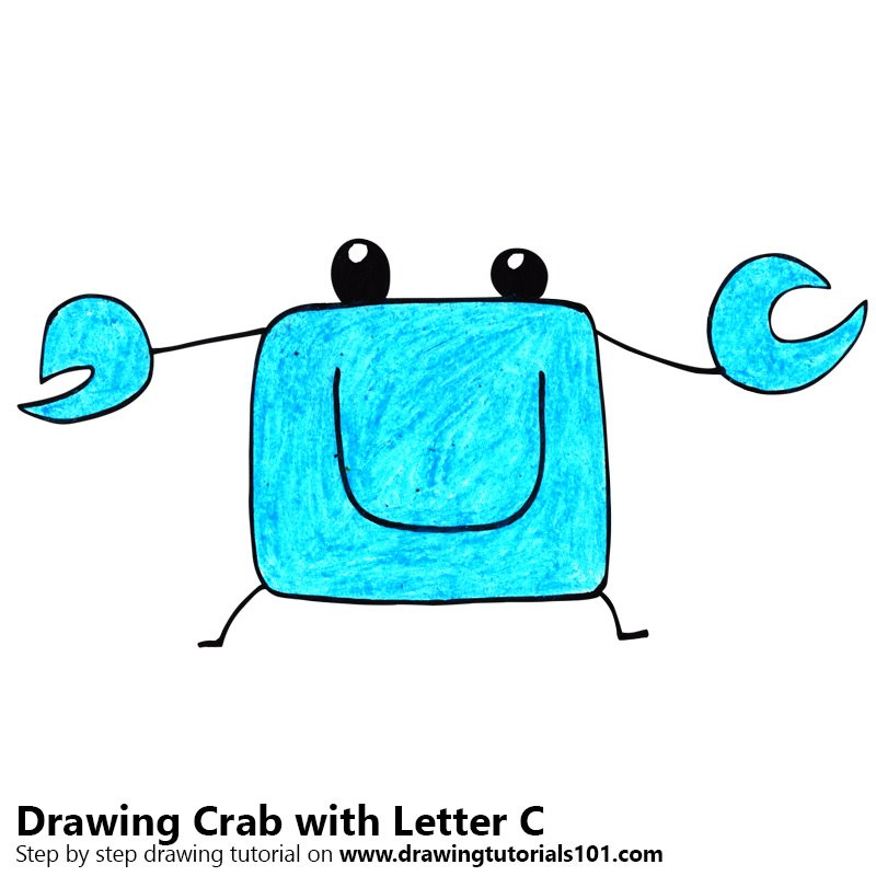 Crab from Letter C Color Pencil Drawing