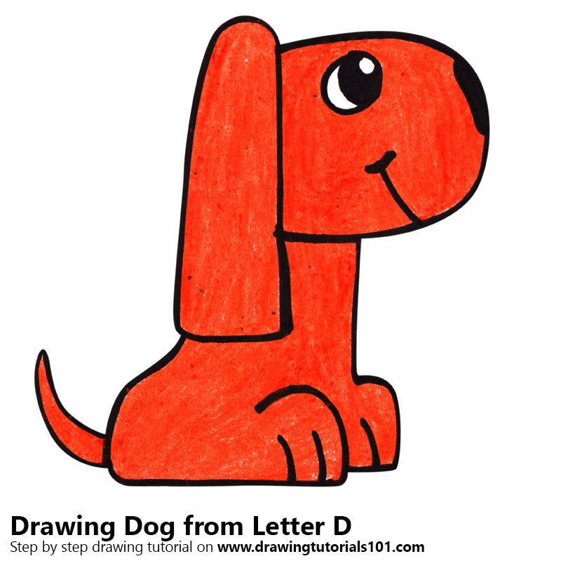 Dog from Letter D Color Pencil Drawing