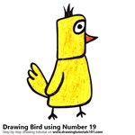How to Draw a Bird using Number 19