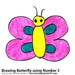How to Draw a Butterfly using Number 3