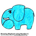 How to Draw a Elephant using Number 6