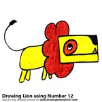How to Draw a Lion using Number 12