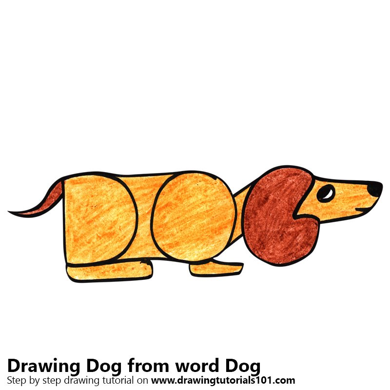 Dog from word Dog Color Pencil Drawing