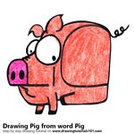 How to Draw a Pig from word Pig