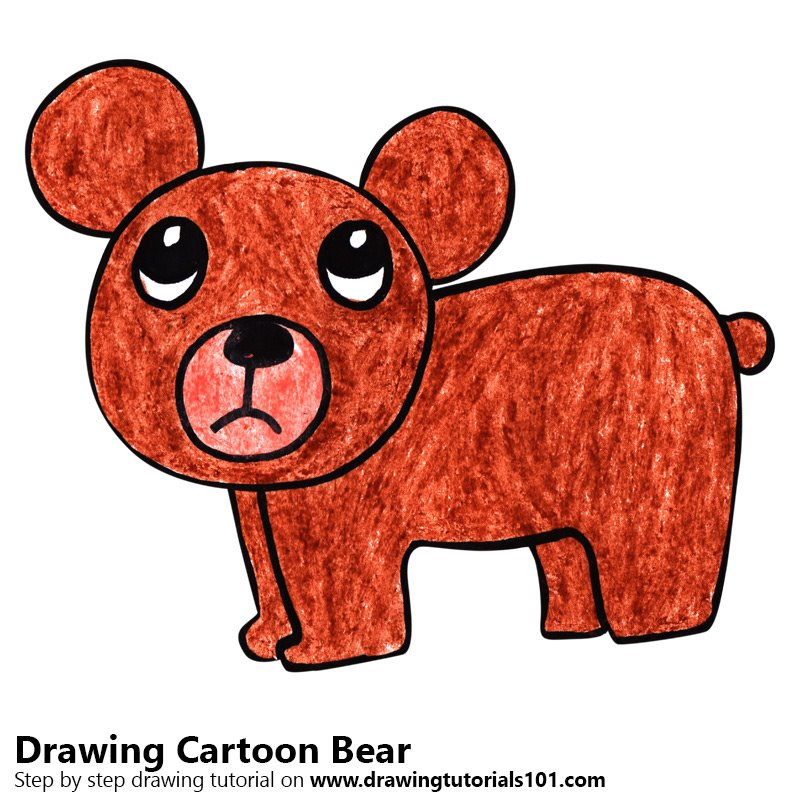 Cartoon Bear Color Pencil Drawing