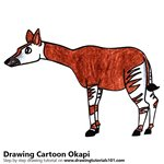 Cartoon Okapi Color Pencil Sketch