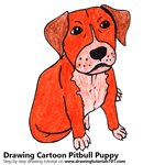 Cartoon Pitbull Puppy Color Pencil Sketch