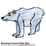Cartoon Polar Bear Color Pencil Sketch