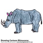 Cartoon Rhinoceros Color Pencil Sketch