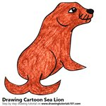 Cartoon Sea Lion Color Pencil Sketch