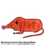 Cartoon Star-Nosed Mole Color Pencil Sketch