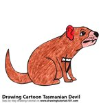 Cartoon Tasmanian Devil Color Pencil Sketch