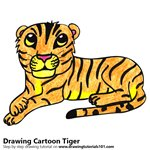 Cartoon Tiger Color Pencil Sketch