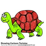 Cartoon Tortoise Color Pencil Sketch