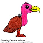 Cartoon Vulture Color Pencil Sketch