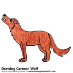 Cartoon Wolf Color Pencil Sketch