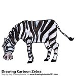 Cartoon Zebra Color Pencil Sketch