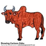 Cartoon Zebu Color Pencil Sketch