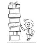 How to Draw Kid With Gift Box