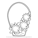How to Draw Flowers Basket for Kids