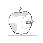 How to Draw an Apple with Worm