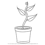 How to Draw Plant in Pot