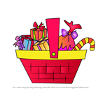 How to Draw Basket Full of Presents and Candy Canes