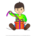 How to Draw Boy Opening A Christmas Gift