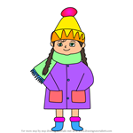 How to Draw Christmas Girl dressed for Winter