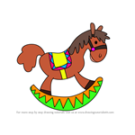 How to Draw Christmas Rocking Horse
