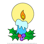 How to Draw Holly Berry Candle Glowing