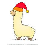 How to Draw llama Wearing Santa Hat