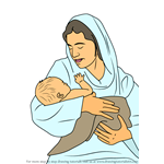 How to Draw Mary Looking Over Jesus