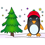 How to Draw Penguin with Christmas Tree