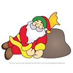 How to Draw Santa Claus Sleeping