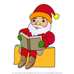 How to Draw Santa Reading a Book