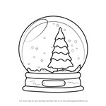 How to Draw Snowglobe with Christmas Tree