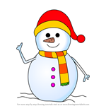 How to Draw Snowman With Scarf