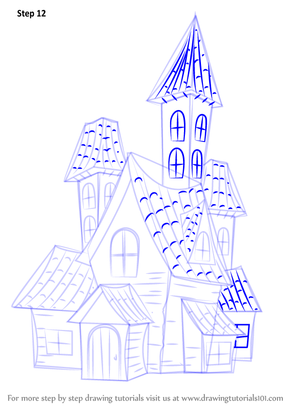 Step by Step How to Draw a Spooky Haunted House ...