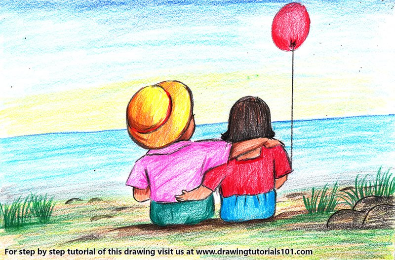Valentine Couple with Balloon Color Pencil Drawing