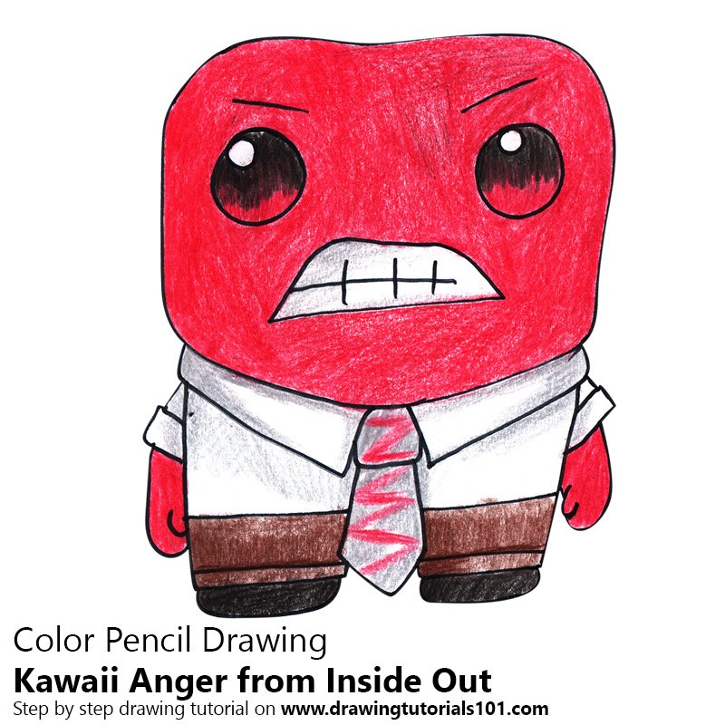 Kawaii Anger from Inside Out Color Pencil Drawing
