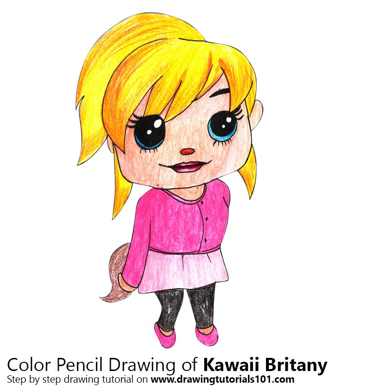 Kawaii Brittany from Alvin and the Chipmunks Color Pencil Drawing
