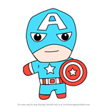 How to Draw Kawaii Captain America
