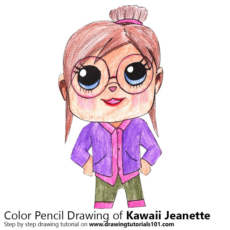 Kawaii Jeanette Color Pencil Drawing