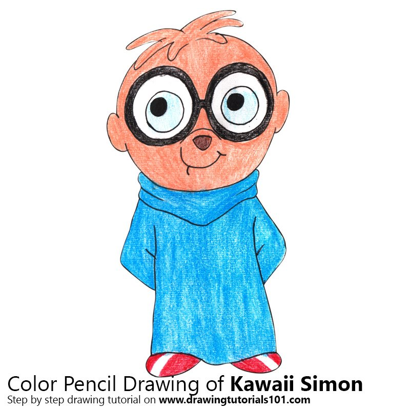 Kawaii Simon from Alvin and the Chipmunks Color Pencil Drawing