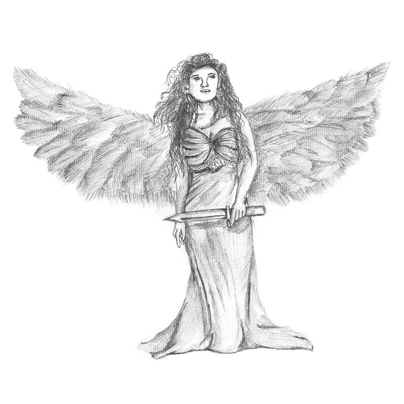 Pencil Sketch of Angel with Sword - Pencil Drawing