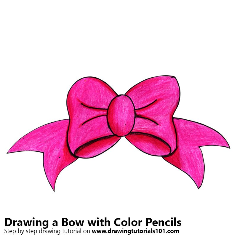 Bow Color Pencil Drawing