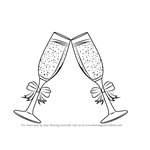 How to Draw Champagne Glasses