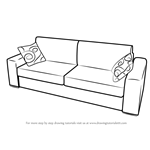 How to Draw Sofa with Cushions