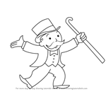 How to Draw Rich Uncle Pennybags from Monopoly